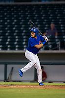 AZL Cubs second baseman Fidel Mejia (76) at bat against the AZL Diamondbacks on August 11, 2017 at Sloan Park in Mesa, Arizona. AZL Cubs defeated the AZL Diamondbacks 7-3. (Zachary Lucy/Four Seam Images)