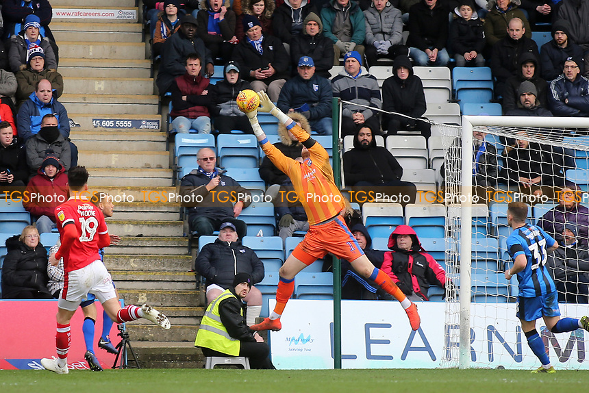 Gillingham goalkeeper, Tomas Holy, uses his height advantage to easily catch the ball during Gillingham vs Barnsley, Sky Bet EFL League 1 Football at The Medway Priestfield Stadium on 9th February 2019