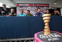 Giro d'Italia Big Start (Grande Partenza) top riders gather for a press conference at Belfast's Waterfront Hall, Belfast, Northern Ireland, Friday 9th May, 2014.  Seen left to right Nicholas Roche, Michelle Scarponi, Nairo Quintana, Joaquin Rodriguez, Rigoberto Uran and Cadel Evans. Ireland will host three days of cycling action from 9 to 11 May 2014.