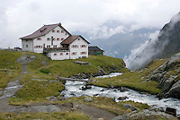 Neustift im Stubaital, Stubaier Hohenweg, Tirol, Austria, September 2008. The Neue Regensburger hutte.  Hiking the Stubai High Trail from hut to hut in the southern Alps, we clear a mountain pass on a daily basis. Photo by Frits Meyst/Adventure4ever.com.