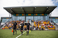 Referee Mike Smith & his officials Tom Lathey & Steve Willams lead the teams out during the pre season friendly match between Slough Town and Wycombe Wanderers at Arbour Park Stadium, Slough, England on 8 July 2017. Photo by Andy Rowland.