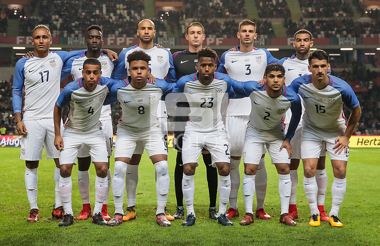 Leiria, Portugal - Tuesday November 14, 2017: U.S. Men's National team starting eleven vs Portugal during an International friendly match between the United States (USA) and Portugal (POR) at Estádio Dr. Magalhães Pessoa.