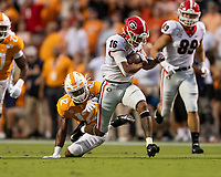 KNOXVILLE, TN - OCTOBER 5: Demetris Robertson #16 of the Georgia Bulldogs runs for a first down during a game between University of Georgia Bulldogs and University of Tennessee Volunteers at Neyland Stadium on October 5, 2019 in Knoxville, Tennessee.