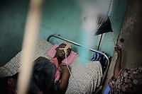 Mogadishu/Somalia 2012 - Soldier wounded in battle receives treatment at the Medina Hospital in the center of Mogadishu.