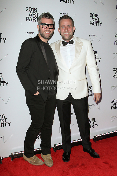 Fashion designer Brandon Maxwell (left) and Michael Carl from Vanity Fair, attend the 2016 Whitney Art Party, at The Whitney Museum of American Art on 99 Gansevoort Street in New York City, on November 15, 2016.