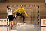 09.11.2019, Hansehalle Luebeck, GER,  2.Bundesliga Handball VfL Luebeck-Schwartau - TV Emsdetten<br /> <br /> im Bild / picture shows<br /> Torwart Dennis Klockmann VfL Luebeck-Schwartau pariert den Siebenmeter von Dirk Holzner (TV Emsdetten)<br /> <br /> Foto © nordphoto / Tauchnitz