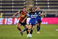 Kansas City, Kansas - Saturday April 16, 2016: FC Kansas City forward Shea Groom (2) and Western New York Flash midfielder Elizabeth Eddy (4) in the second half at Children's Mercy Park. Western New York won 1-0.