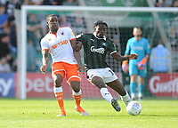 Blackpool's Donervon Daniels under pressure from Plymouth Argyle's Freddie Ladapo<br /> <br /> Photographer Kevin Barnes/CameraSport<br /> <br /> The EFL Sky Bet League One - Plymouth Argyle v Blackpool - Saturday 15th September 2018 - Home Park - Plymouth<br /> <br /> World Copyright &copy; 2018 CameraSport. All rights reserved. 43 Linden Ave. Countesthorpe. Leicester. England. LE8 5PG - Tel: +44 (0) 116 277 4147 - admin@camerasport.com - www.camerasport.com