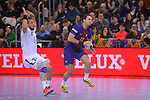 VELUX EHF 2017/18 EHF Men's Champions League Group Phase - Round 11.<br /> FC Barcelona Lassa vs HC Vardar: 29-28.<br /> Luka Cindric vs Aitor Ari&ntilde;o.