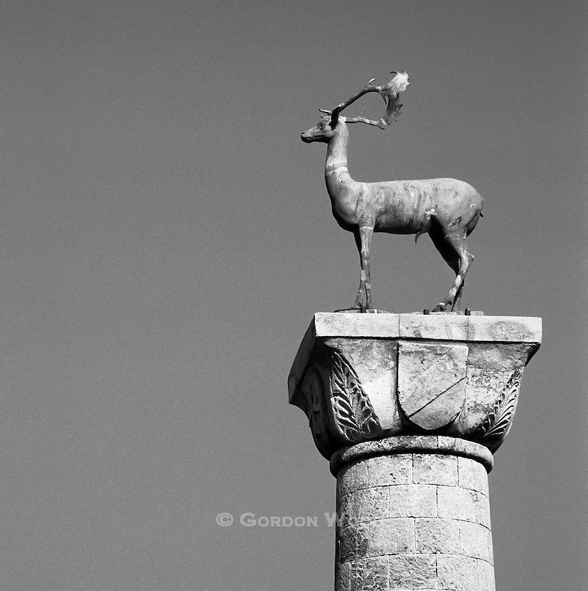 Rhodian Deer Statues Guarding Mandraki Harbour, Rhodes, Greece