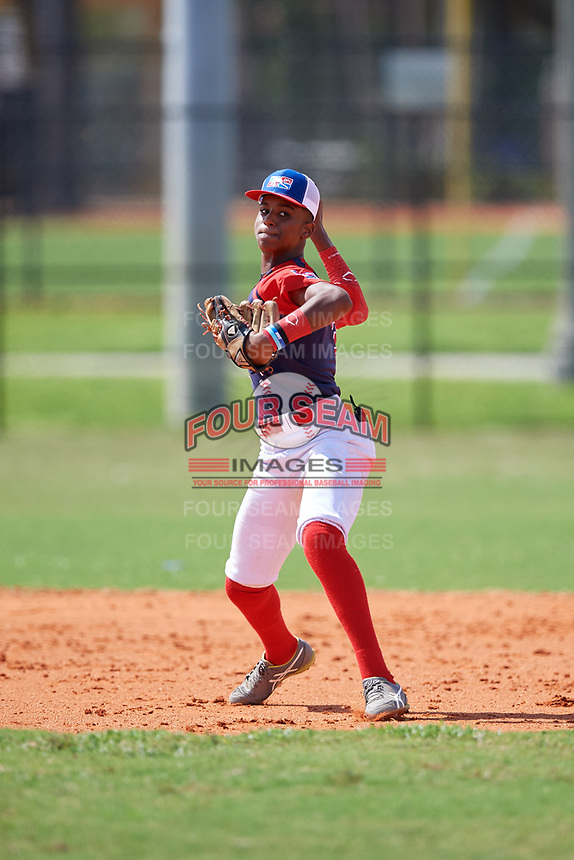Camilo Diaz (3) during the Dominican Prospect League Elite Florida Event at Pompano Beach Baseball Park on October 14, 2019 in Pompano beach, Florida.  (Mike Janes/Four Seam Images)