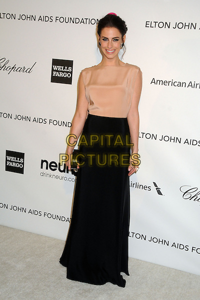 Jessica Lowndes.21st Annual Elton John Academy Awards Viewing Party held at West Hollywood Park, West Hollywood, California, USA..February 24th, 2013.oscars full length dress beige sheer sleeveless black skirt clutch bag .CAP/ADM/BP.©Byron Purvis/AdMedia/Capital Pictures. Oscars