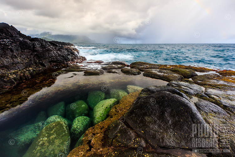 A look into one of the many tidal pools, so clear and calm at the moment that it takes a second look to see the water covering the green stones, in the Queen's Bath area of Kaua'i; a passing shower slightly obscures Makana Ridge in the distance.