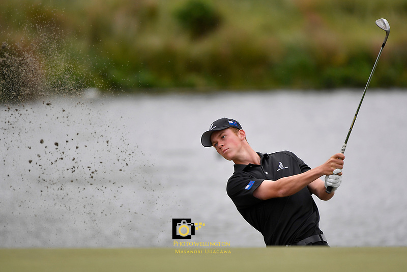 Daniel Hiller (New Zealand) in action during the Asia- Pacific Amateur Championship at Royal Wellington Golf Club, Wellington, New Zealand on Sunday 29 October.<br /> Photo by Masanori Udagawa. <br /> www.photowellington.photoshelter.com