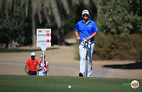 Bernd Wiesberger (AUT) plays up the 3rd during the Final Round of the 2016 Omega Dubai Desert Classic, played on the Emirates Golf Club, Dubai, United Arab Emirates.  07/02/2016. Picture: Golffile | David Lloyd<br /> <br /> All photos usage must carry mandatory copyright credit (&copy; Golffile | David Lloyd)