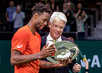 Rotterdam, The Netherlands, 17 Februari 2019, ABNAMRO World Tennis Tournament, Ahoy,  award ceremony, Winner Gael Monfils (FRA) gets the trophy handed over from the CEO of the ABNAMRO Bank Kees van Dijkhuizen <br /> Photo: www.tennisimages.com/Henk Koster