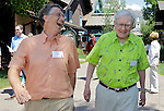 Billionaire investor Warren Buffett, right, and Microsoft Chairman and co-founder Bill Gates, left, at the Allen & Company Sun Valley Conference in Sun Valley, Idaho, Thursday, July 12, 2012. (AP Photo/Paul Sakuma)