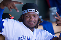 Surprise Saguaros third baseman Vladimir Guerrero Jr. (27), of the Toronto Blue Jays organization, poses for a photo during an Arizona Fall League game against the Salt River Rafters on October 9, 2018 at Surprise Stadium in Surprise, Arizona. The Rafters defeated the Saguaros 10-8. (Zachary Lucy/Four Seam Images)