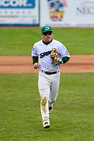 Beloit Snappers second baseman Trace Loehr (3) heads to the dugout between innings during a Midwest League game against the Quad Cities River Bandits on May 20, 2018 at Pohlman Field in Beloit, Wisconsin. Beloit defeated Quad Cities 3-2. (Brad Krause/Four Seam Images)
