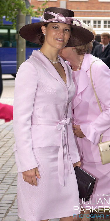Crown Princess Victoria of Sweden attends the Christening of Crown Prince Willem-Alexander & Crown Princess Maxima of Holland's daughter Catharina-Amalia at the St. Jacobskerk Church in The Hague..