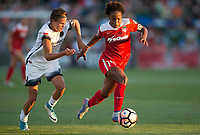 Boyds, MD. - Saturday, June 24 2017:  Emily Menges, Francisca Ordega during a regular season National Women's Soccer League (NWSL) match between the Washington Spirit and the Portland Thorns FC at Maureen Hendricks Field, Maryland SoccerPlex. The Washington Spirit defeated Portland Thorns FC 1-0.