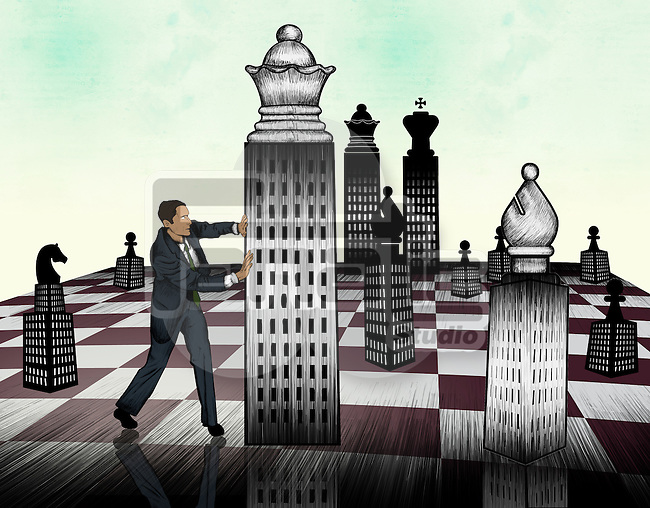 Businessman arranging chess piece on giant chessboard