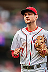 1 August 2018: Washington Nationals shortstop Trea Turner returns to the dugout during a game against the New York Mets at Nationals Park in Washington, DC. The Nationals defeated the Mets 5-3 to sweep the 2-game weekday series. Mandatory Credit: Ed Wolfstein Photo *** RAW (NEF) Image File Available ***