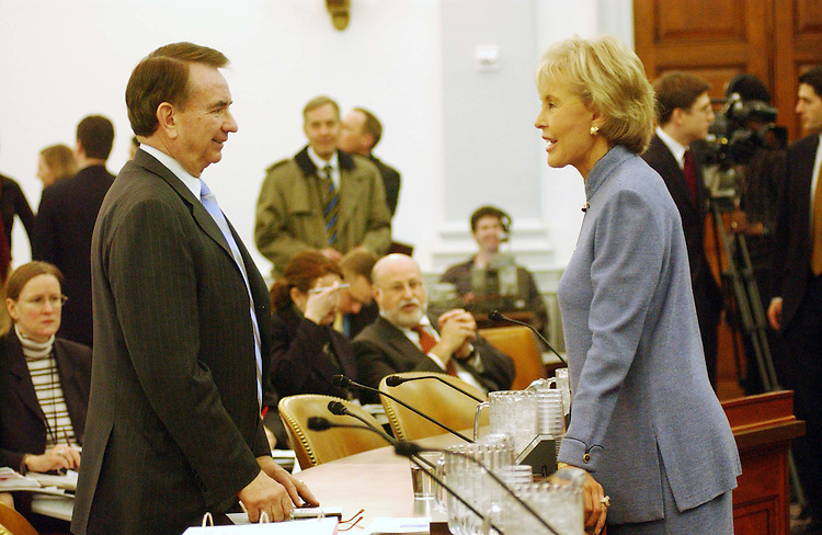 2/10/04.THOMPSON--Jennifer Dunn, R-Wash., right, and Health and Human Services Secretary Tommy G. Thompson talk before the House Ways and Means hearing on the adminstration's fiscal 2005 budget proposal..CONGRESSIONAL QUARTERLY PHOTO BY SCOTT J. FERRELL