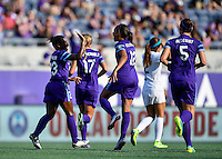 Orlando, FL - Saturday Sept. 24, 2016: Jasmyne Spencer goal celebration, Kristen Edmonds during a regular season National Women's Soccer League (NWSL) match between the Orlando Pride and FC Kansas City at Camping World Stadium.