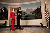 Washington, DC - June 2, 2009 -- United States President Barack Obama escorts former First Lady Nancy Reagan in the Diplomatic Room of the White House June 2, 2009, for the announcement and signing of the Ronald Reagan Centennial Commission Act--commemorating the late President's 100th Birthday in 2011. .Mandatory Credit: Pete Souza - White House via CNP
