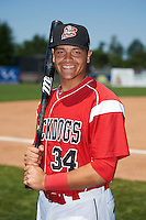 Batavia Muckdogs catcher Roy Morales (34) poses for a photo after a game against the Williamsport Crosscutters on July 16, 2015 at Dwyer Stadium in Batavia, New York.  Batavia defeated Williamsport 4-2.  (Mike Janes/Four Seam Images)