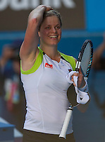 KIM CLIJSTERS (BEL) against LI NA (CHN) in the fourth round of the Women's Singles. Kim Clijsters beat Li Na  4-6 7-6 6-4..22/01/2012, 22nd January 2012, 22.01.2012 - Day 7..The Australian Open, Melbourne Park, Melbourne,Victoria, Australia.@AMN IMAGES, Frey, Advantage Media Network, 30, Cleveland Street, London, W1T 4JD .Tel - +44 208 947 0100..email - mfrey@advantagemedianet.com..www.amnimages.photoshelter.com.