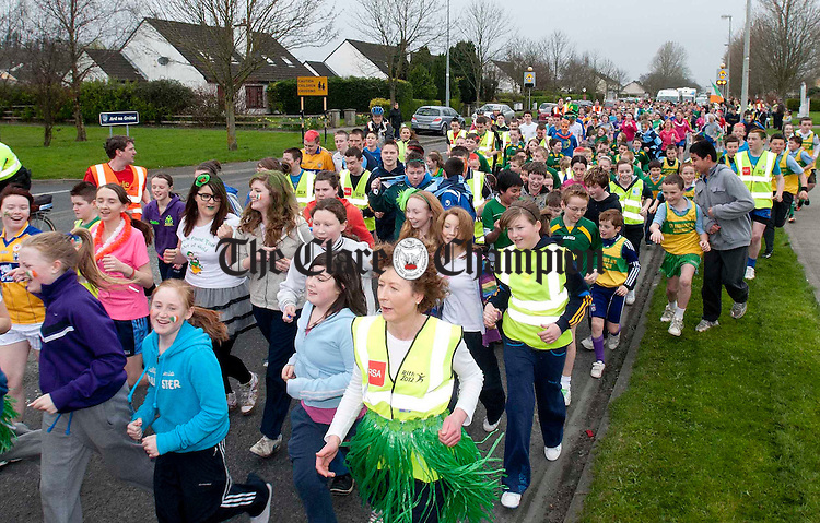 Pupils from schools around Shannon taking part in the Rith 2012 Irish Language Relay Race on Friday. Photograph by Declan Monaghan