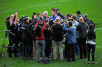 Kieran Read is interviewed after the Steinlager Series All Blacks rugby captain's run at Eden Park, Auckland, New Zealand on Friday, 10 June 2016. Photo: Dave Lintott / lintottphoto.co.nz