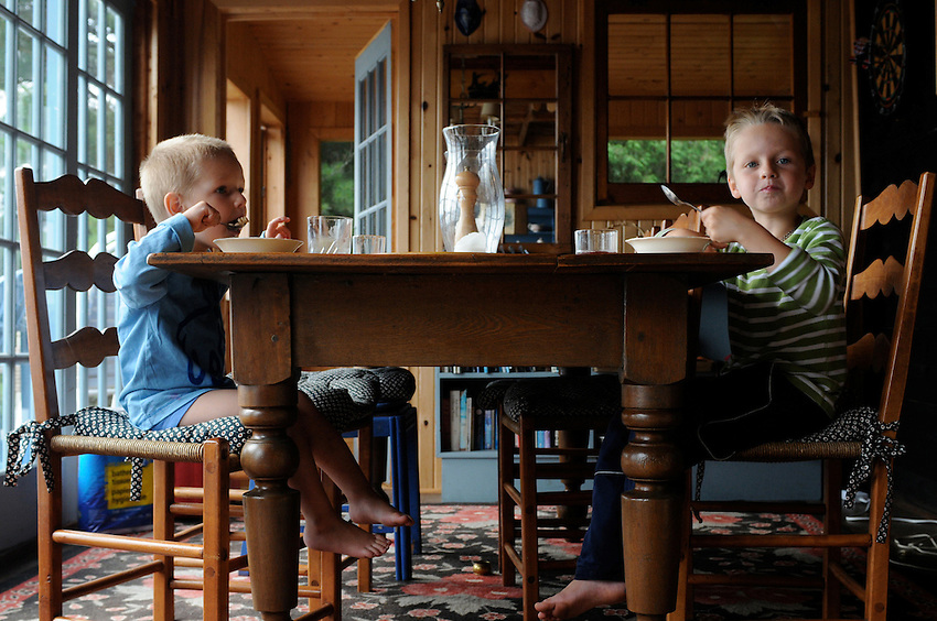 boys, breakfast, cottage, Canoe Lake, Ontario, Canada
