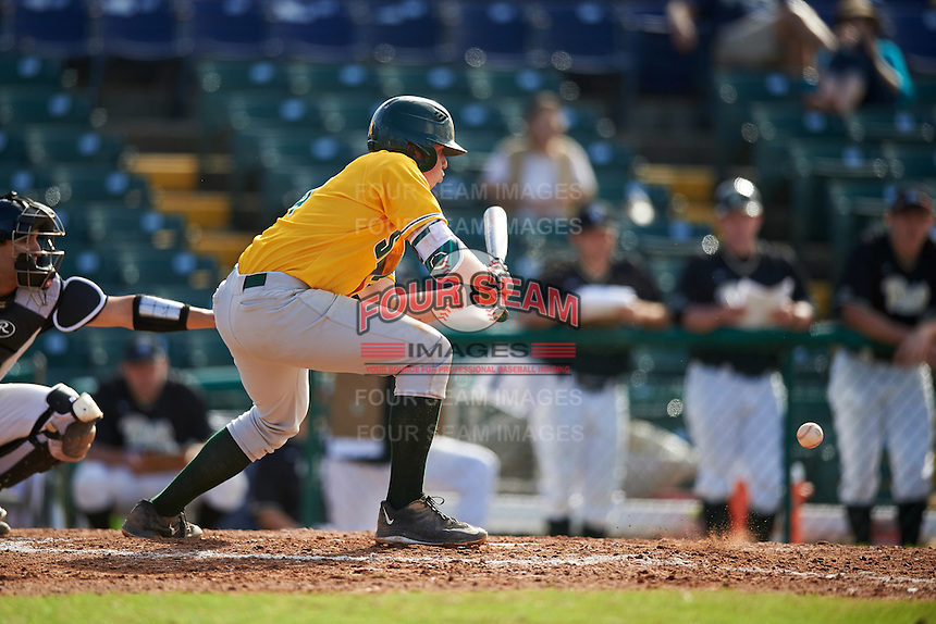 Siena Saints second baseman Jordan Bishop (4) lays down a bunt during a game against the Pittsburgh Panthers on February 24, 2017 at Historic Dodgertown in Vero Beach, Florida.  Pittsburgh defeated Siena 8-2.  (Mike Janes/Four Seam Images)