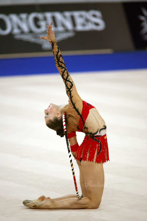 September 21, 2007; Patras, Greece;  Elizabeth Paisieva of Bulgaria finishing pose to hoop routine  during All-Around final at 2007 World Championships Patras.  Betty helped Bulgaria to receive the 2nd of 2 positions for the individual All-Around at Beijing 2008 Olympics.  Photo by Tom Theobald. .