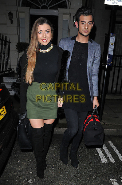 Abi Clarke &amp; Junaid Ahmed attend the &quot;Perfect Eyelashes: The Ultimate Guideto Lash Extensions&quot; book launch party, Skin Associates, Wimpole Street, London, England, UK, on Thursday 26 November 2015.<br /> CAP/CAN<br /> &copy;CAN/Capital Pictures