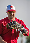 10 March 2014: Washington Nationals outfielder Bryce Harper warms up prior to a Spring Training game against the Houston Astros at Space Coast Stadium in Viera, Florida. The Astros defeated the Nationals 7-4 in Grapefruit League play. Mandatory Credit: Ed Wolfstein Photo *** RAW (NEF) Image File Available ***