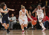 STANFORD, CA - November 30, 2011:  Toni Kokenis with a steal and a fast break, with Chiney Ogwumike trailing the play, in Stanford's 93-44 victory over UC Davis in Stanford, California on November 30, 2011.