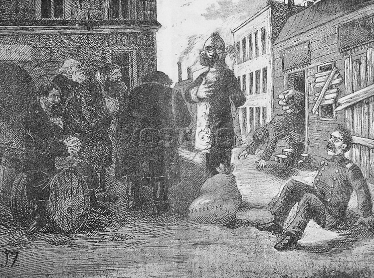 Illustration from the Russian satirical journal Ovod (Gadfly) depicting a man with two front sides standing in front of a group of commoners while a soldier appears to have fallen to the ground in fear or surprise; in the background a large fist is pushing someone out of a boarded-up building, 1906. ()