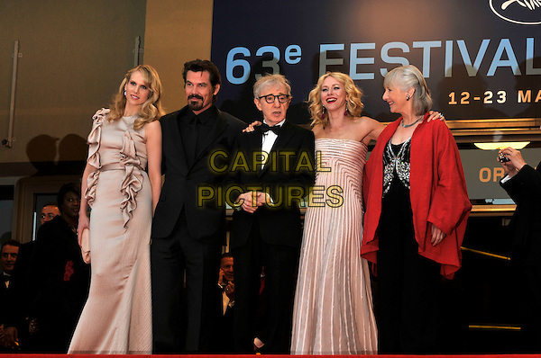 LUCY PUNCH, JOSH BROLIN, WOODY ALLEN, NAOMI WATTS, GEMMA JONES .Attending the screening of 'You Will Meet a Tall Dark Stranger' presented out of competition at the 63rd Cannes Film Festival, Cannes, France, .15th May 2010..premiere full length black glasses bow tie tuxedo tux beige gold nude dress strapless silk satin long maxi striped silver stripes black red jacket ruffles suit .CAP/PL.©Phil Loftus/Capital Pictures.
