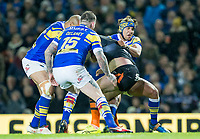 Picture by Allan McKenzie/SWpix.com - 23/03/2018 - Rugby League - Betfred Super League - Leeds Rhinos v Castleford Tigers - Elland Road, Leeds, England - Ashton Golding makes a takle.