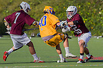 Costa Mesa, CA 03/08/14 - Jack McKay (LMU #7), Michael Hanover (LMU #25) and Max Berry (UCSB #40) in action during the MCLA Loyola Marymount vs UC Santa Barbara men's lacrosse game as part of the 2014 Pacific Shootout.  UCSB defeated LMU 12-7 at Le Bard Stadium.
