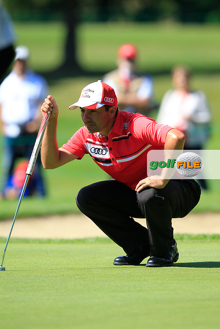 Felipe AGUILAR (CHI) on the 15th green during Saturday's Round 3 of the 2014 Omega European Masters held at the Crans Montana Golf Club, Crans-sur-Sierre, Switzerland.: Picture Eoin Clarke, www.golffile.ie: 6th September 2014