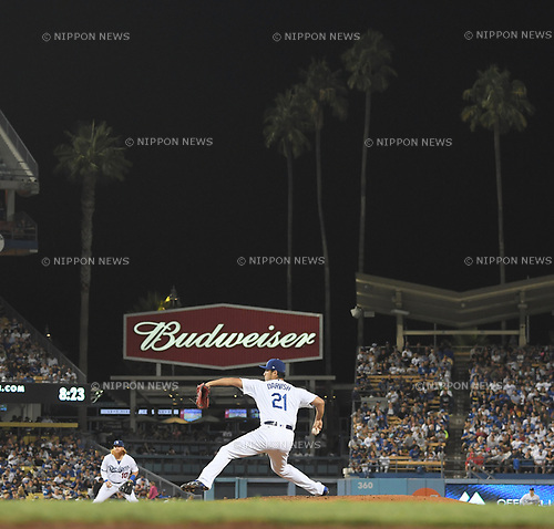 Yu Darvish (Dodgers),<br /> AUGUST 16, 2017 - MLB :<br /> Los Angeles Dodgers starting pitcher Yu Darvish pitches during the Major League Baseball game against the Chicago White Sox at Dodger Stadium in Los Angeles, California, United States. (Photo by AFLO)