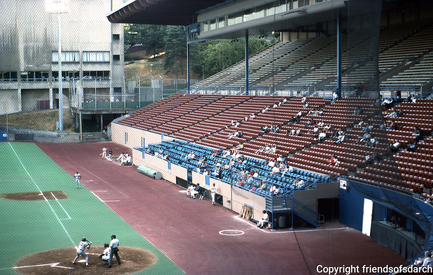 Ballparks: Portland Civic Stadium. Sparse crowd for first game of twilight double-header. (make-up for rainout.)