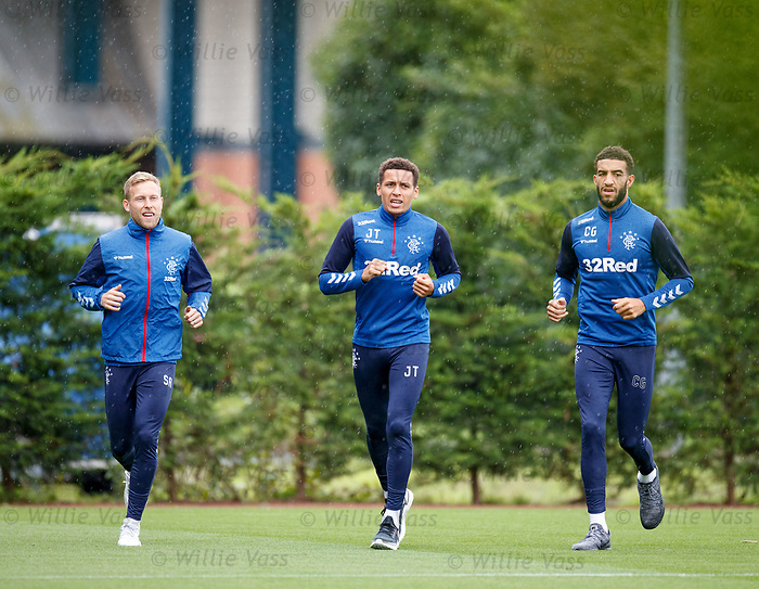30.08.2019 Rangers training: Scott Arfield, James Tavernier and Connor Goldson
