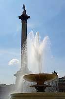Fountains with Nelsons Column in Trafalgar Square London