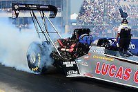 Sept. 22, 2012; Ennis, TX, USA: NHRA top fuel dragster driver Chris Karamesines during qualifying for the Fall Nationals at the Texas Motorplex. Mandatory Credit: Mark J. Rebilas-